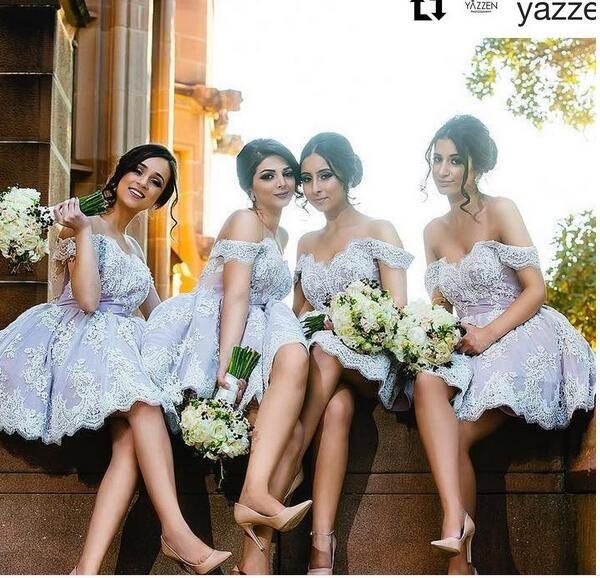 Mini Short Bridesmaid Dresses, Simple Lace Bridesmaid Gowns