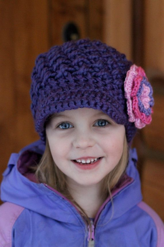 Purple Girls Hat/ Kids winter Hat/ Girls winter Hat