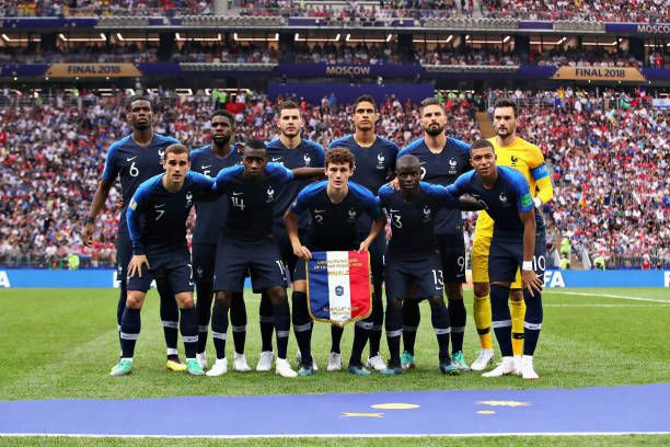 The France Team Line Up Before The 2018 Fifa World Cup Russia Final