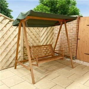 Billyoh garden swing seat classic 2 seater wooden swing seat including green canopy wooden Wooden swing seats garden furniture