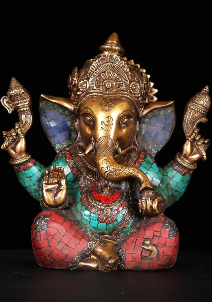 """View the Ganesh Statue with Stones 9"""""""