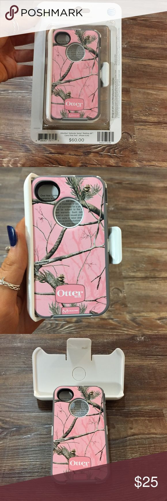 Brand New OttorBox Defender Series- IPhone 4/4S Pink Camo! Brand new with original box. Also comes with the phone clip to attach to your hip. BRAND NEW. OtterBox Accessories Phone Cases