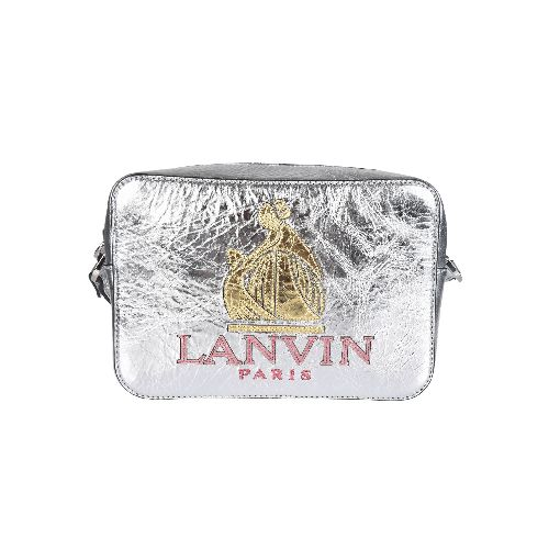 Silver-tone calf leather 'So Lanvin' crossbody bag from Lanvin featuring a top zip fastening, an embossed logo, an adjustable shoulder strap, silver-tone hardware, an internal zipped pocket and an internal logo patch. Size: OS. Color: Metallic. Gender: Female. Material: Calf Leather/Polyester/Cotton.