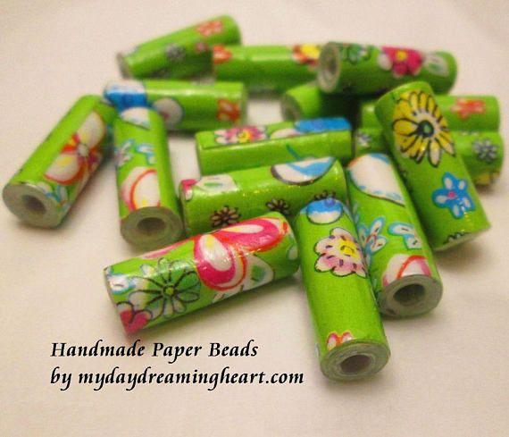15 Lime Flower Power Papier Perlen recycelt Geschenk Tasche Perlen viel Schmuck liefert …