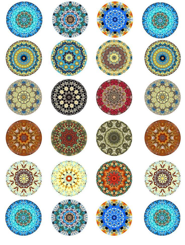 "Mandala round stickers glossy paper 1"", 1.5"", 2"" scrapbooking crafts you choose #Handmade"
