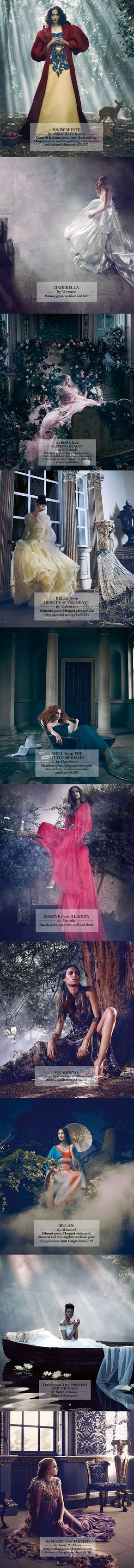 """Disney princesses Christmas campaign """"Once Upon A Dream"""" for Harrod's department store, London."""