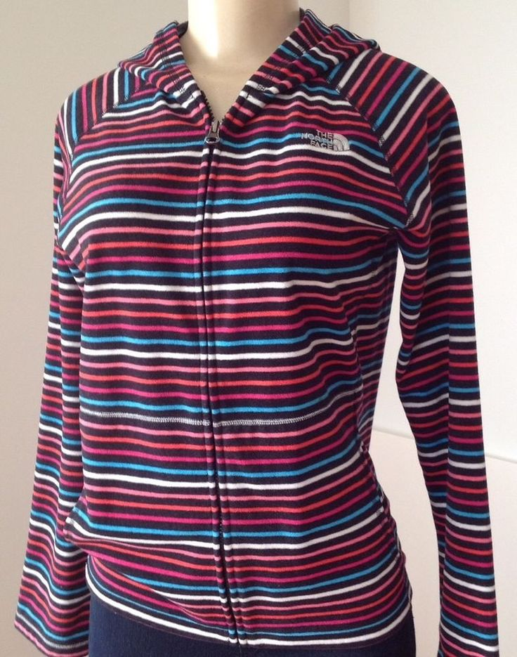 The North Face Girl's  XL/TG Striped Multi Color Zip Up Hooded Jacket Sweater    eBay