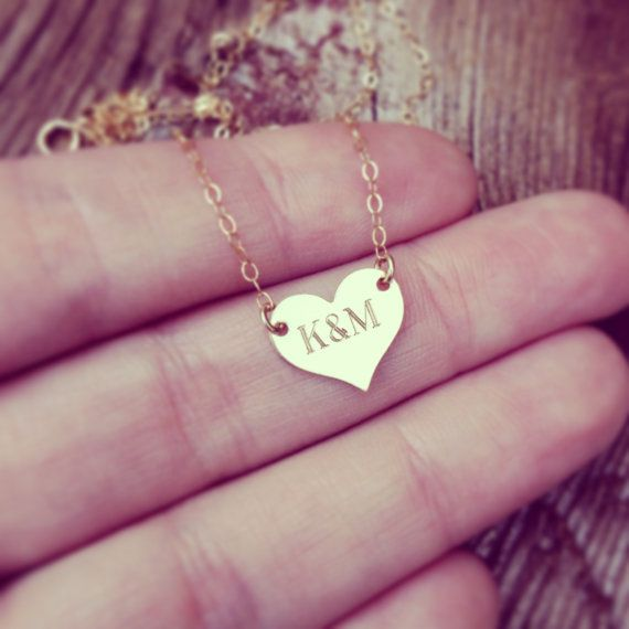 HEART NECKLACE  heart necklace  silver heart by MyBelovedAndCo- with Tank & Davie's initials<3