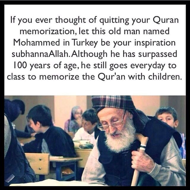 Memorizing Quran. What an inspiration this old man is!