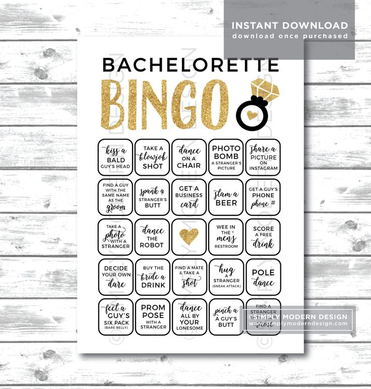 Bachelorette bingo, bachelorette dares, bachelorette party game, gold, glitter gold, scavenger hunt, truth or date, instant download by SimplyModernDesignCo on Etsy