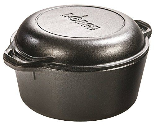 I just bought this and love it. Lodge L8DD3 Double Dutch Oven and Casserole with Skillet Cover, 5-Quart . you can see what others said about it here http://bridgerguide.com/lodge-l8dd3-double-dutch-oven-and-casserole-with-skillet-cover-5-quart/