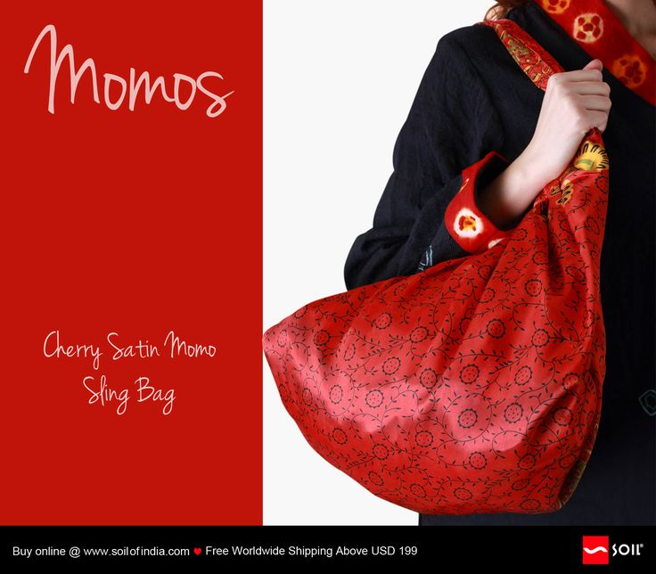 Cherry Satin Momo Bag. Sling-overs in cheerful hand printed satin. Hand stitched by women groups in varied villages across Ladakh, just to earn a living. Each bag is eco friendly and carbon nhttp://soilofindia.com/cherry-satin-momo-bag.htmleutral.