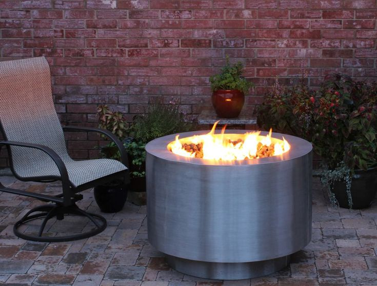 38 Inch Round Stainless Steel Fire Pit Natural Gas Or