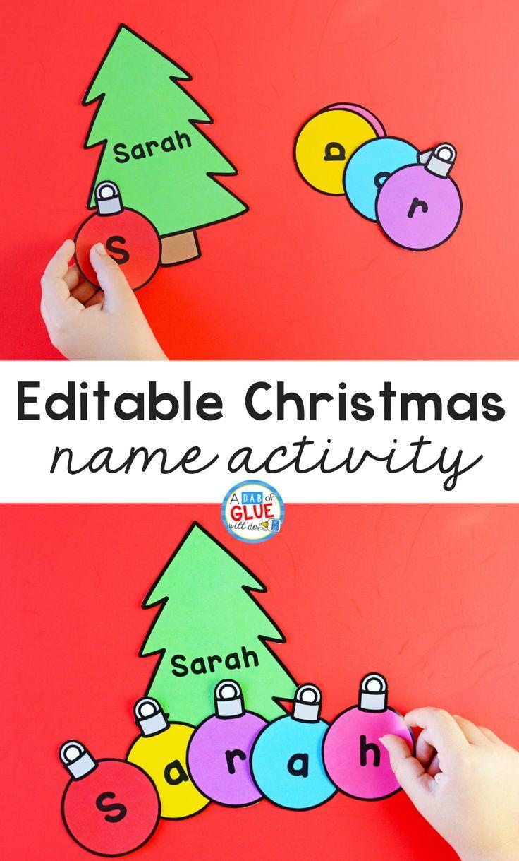 Editable Christmas Name Activity A Dab Of Glue Will Do Christmas Literacy Activities Christmas Learning Christmas Teaching [ 1219 x 736 Pixel ]