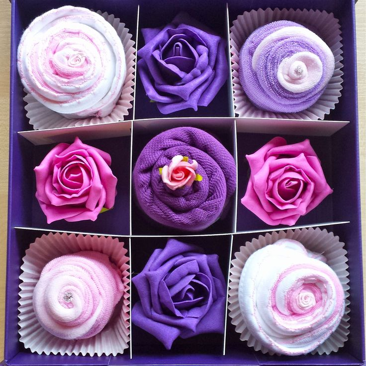 Our new Violet & Rose Delight baby cupcake set.