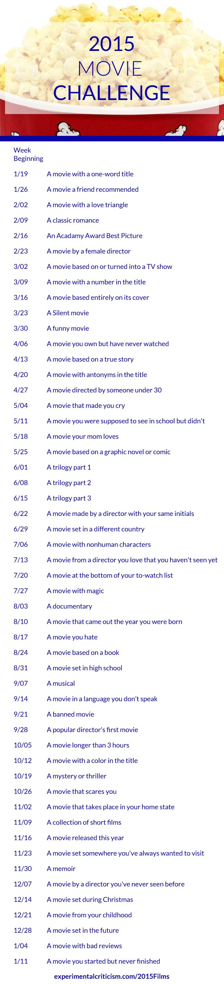 Movie Challenge 2015! This is a challenge for people who love movies, but do not have the time to watch them. The goal is for everyone to watch a movie on a theme every week and discuss the films. By the end of the challenge we will have watched 52 films.