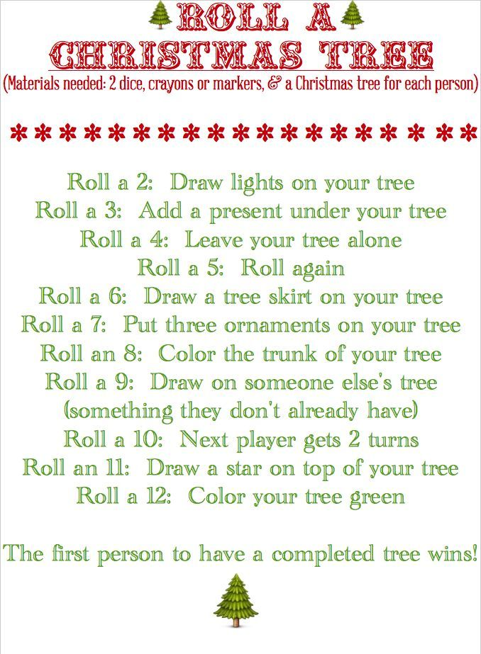Roll a Christmas Tree (Game & Printable) @ Blissful Roots