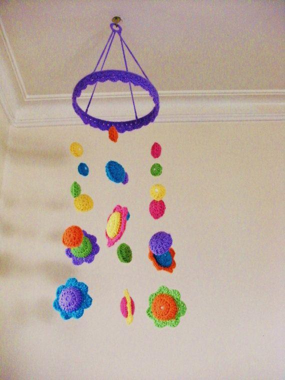 Nursery Mobile, Crochet Flowers, Babys / Childs decoration, Baby shower gift. Girls room Decor.. $85.00, via Etsy.