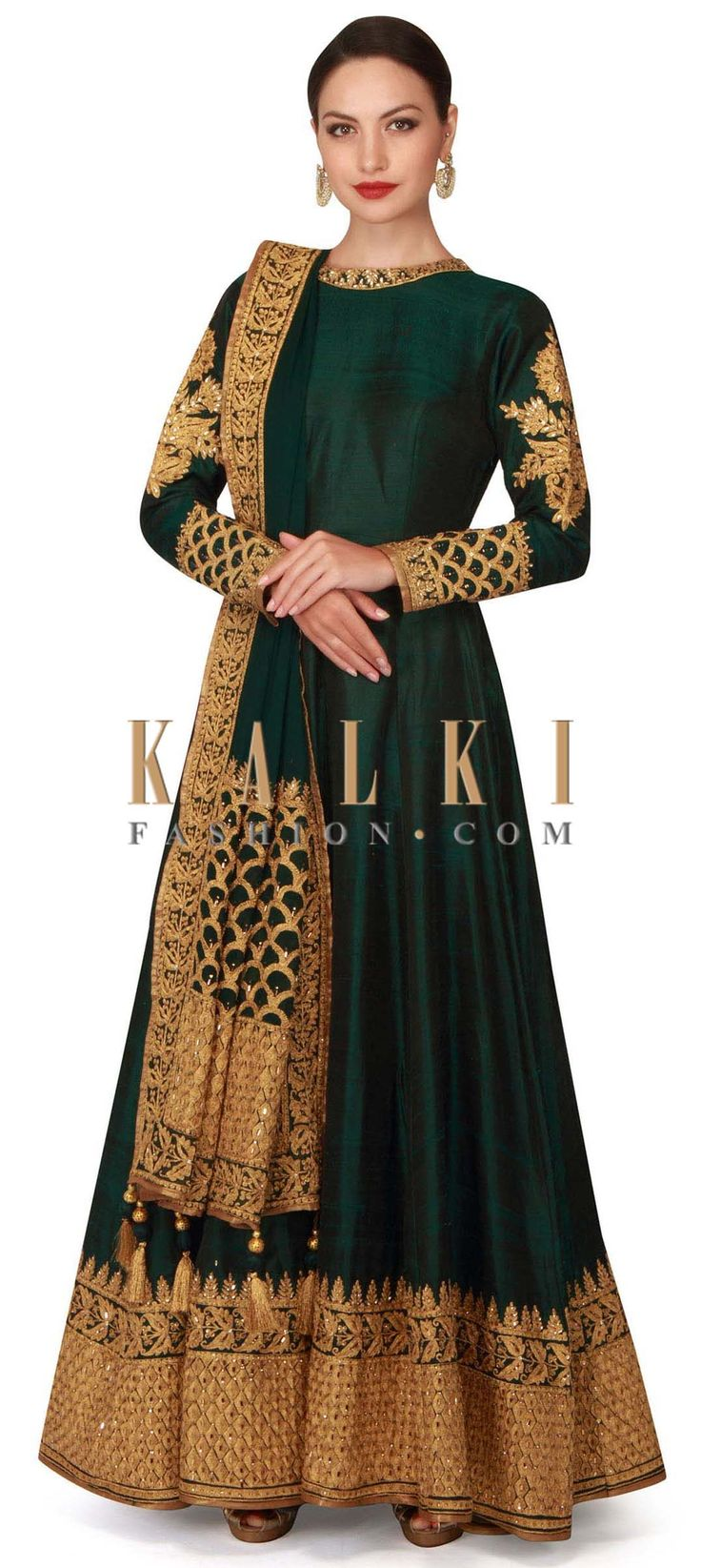 Buy now Dark green anarkali suit with embroidered hem line only on Kalki