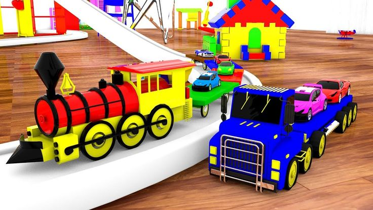 Giant Truck & Train Transporter Set Cars around the House - Kids Toys Fu...