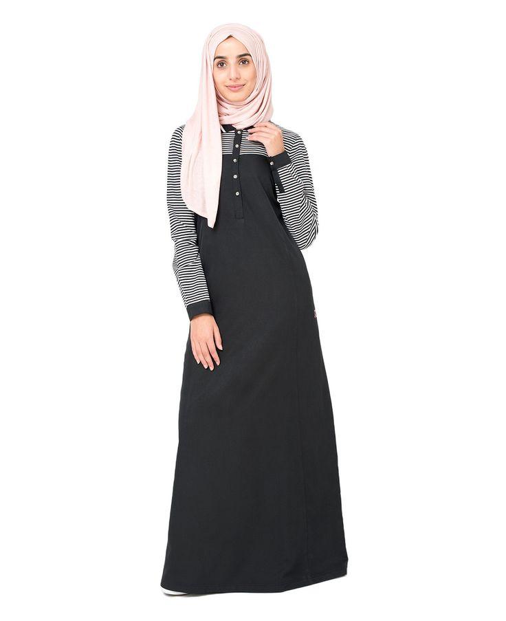Black Stripe Sporty Jilbab - Great Britain   Islamic Design House