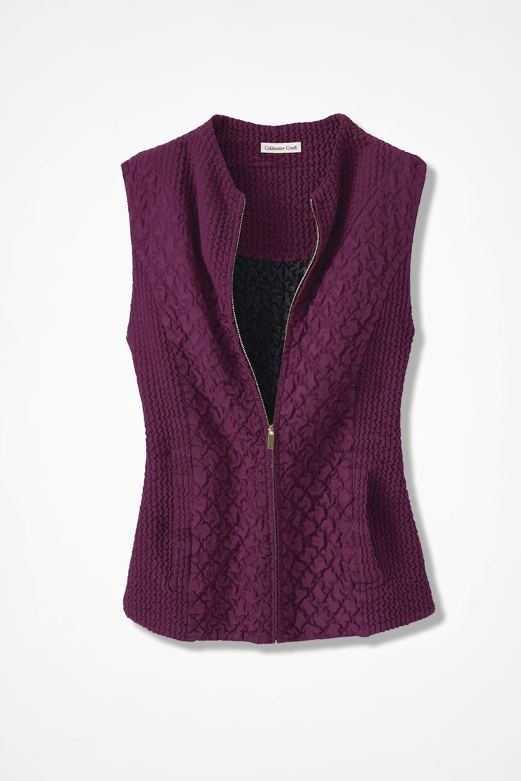 Crinkle Sueded Vest in Mulberry (from Coldwater Creek)