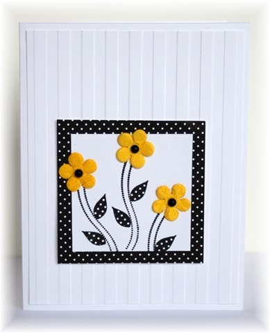 handmade card ... clean and simple design ... luv the wide stripe embossing folder for a background ... bright yellow flowers in a polka dot frame ... lovely!!