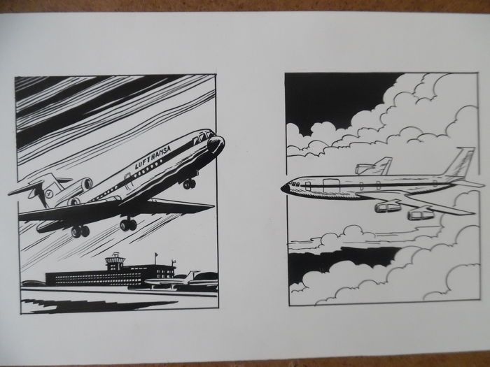 Marniquet, Frédéric -  original illustrations - tribute to Buck Danny + Aeroplanes - W.B.