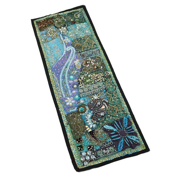 "30X10"" Indian Silk Patchwork unique design & Antique Home Decor Kundan Tapestry  #Namasteart #AntiqueStyle"