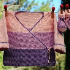 Layette ensemble cache cœur et chaussons en laine mérinos 1- 3 mois neuf tricoté main