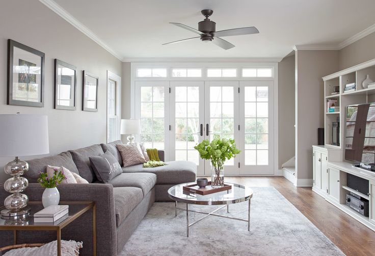 Benjamin moore revere pewter color living room with grey couch.