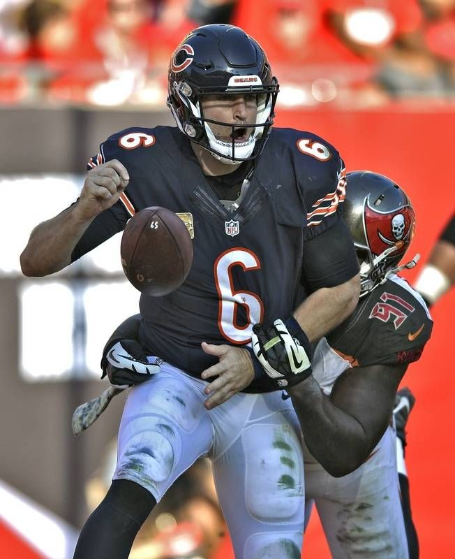 Bears. vs. Buccaneers:  36-10, Buccaneers - November 13, 2016:    Chicago Bears quarterback Jay Cutler (6) fumbles as he is hit by Tampa Bay Buccaneers defensive end Robert Ayers (91) in the end zone during the third quarter of an NFL football game Sunday, Nov. 13, 2016, in Tampa, Fla. Cutler fumbled out of bounds resulting in a safety.