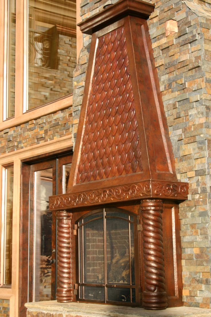 Outdoor Fireplace Mantel / Hood , Hand Forged Copper, Hood With Hand Forged  Copper Shingles