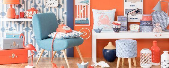 On ose le orange corail pour une jolie déco féminine et vintage !Freed'Home Deco