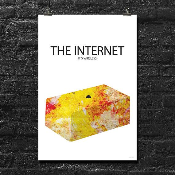The IT Crowd 'The INTERNET' It's Wireless | Fan Art | Water Color | Retro 18x12 Inch Poster
