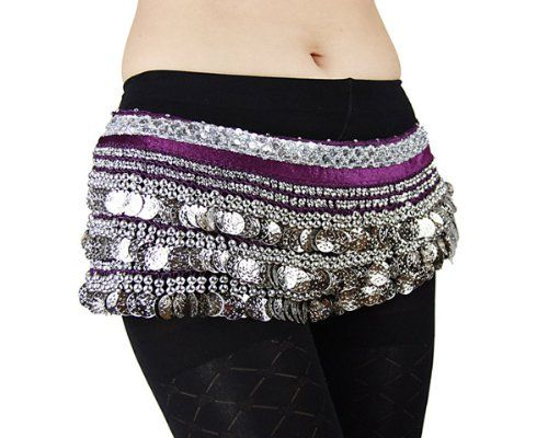 Multi-Row Silver Coins Belly Dance Wrap  Hip Scarf, Simple Classical Style -purple - List price: $28.99 Price: $5.21 Saving: $23.78 (82%)