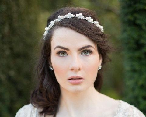 Vintage Side Headpieces - Pearl & Rhinestone Wedding Headband/Sash, Stella