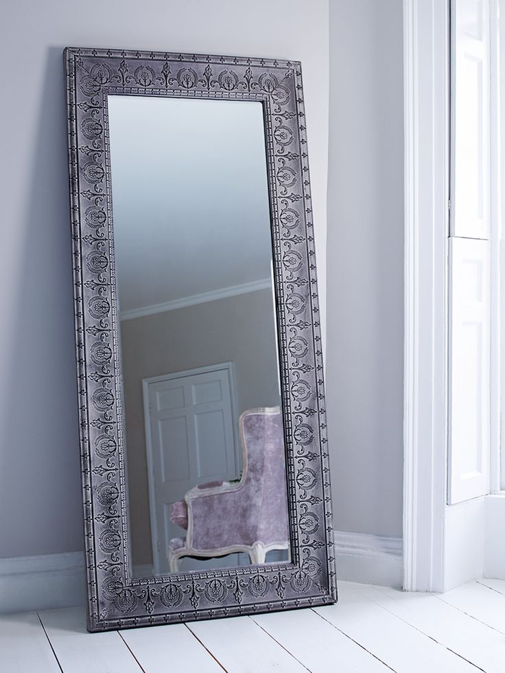 Beautifully embossed from steel with a rustic finish, this large full length mirror makes the perfect addition to your hallway or dressing room. With hooks on reverse for hanging, this quality glass mirror can also be propped against a wall, and the beautiful distressed grey finish will add a touch of vintage inspired style and introduce more light to your space.  Due to the size and weight of this item it is not currently available for international delivery. In exceptional circumstances…