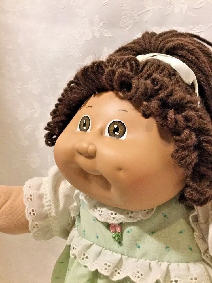 Vintage Coleco Cabbage Patch Kid With Adoption Papers Long Brown Hair Brown Eyes #CabbagePatchKids #DollswithClothingAccessories