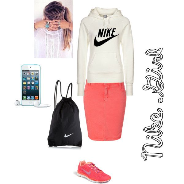 A fashion look from November 2013 featuring NIKE hoodies, Closed skirts and NIKE athletic shoes. Browse and shop related looks.