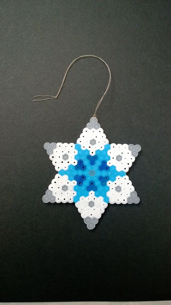 White and Blue snowflake hama perler beads by KimsHandmadeCave