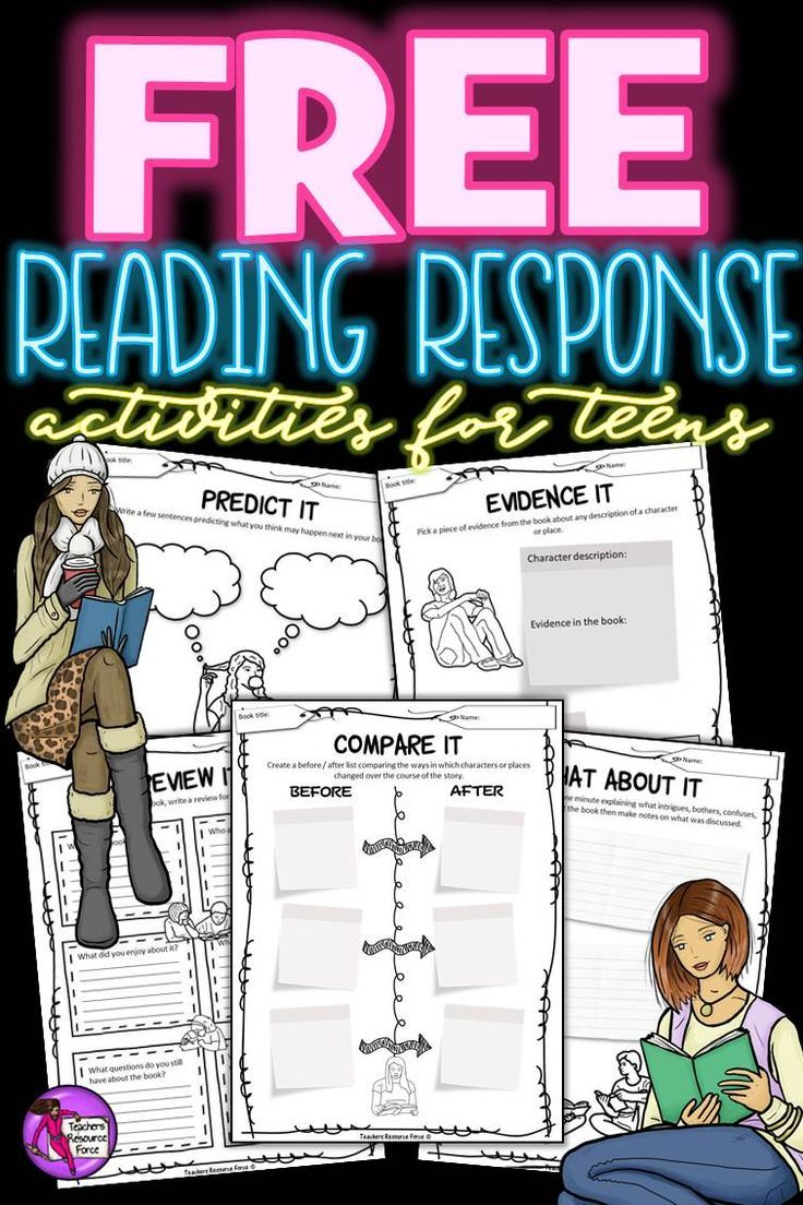 """Are you looking for creative ways for your students to reflect on their reading material?  Here is a set of 5 pages of various fun reading response activities for teens. You can get this for free right now by clicking on the """"visit"""" button!"""