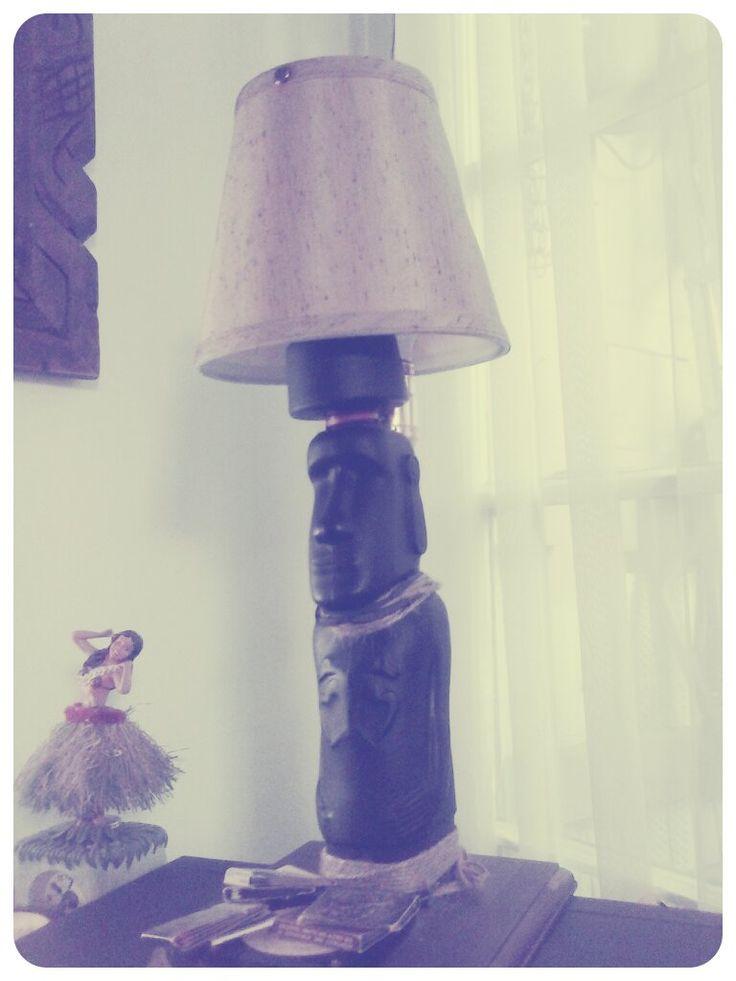Pisco capel moai Bottle  turned to a lamp