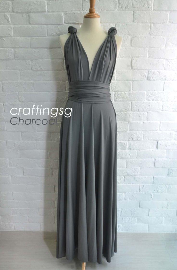Bridesmaid Dress Infinity Dress Charcoal Grey Floor Length