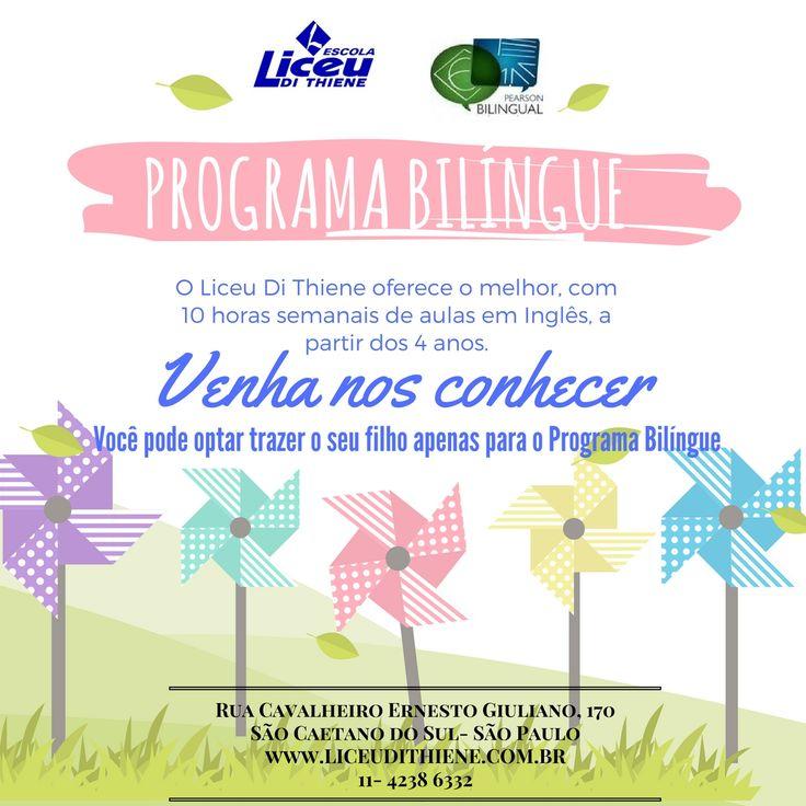 Programa Bilíngue para crianças a partir de 4 anos, com 10 horas semanais de aulas em inglês.
