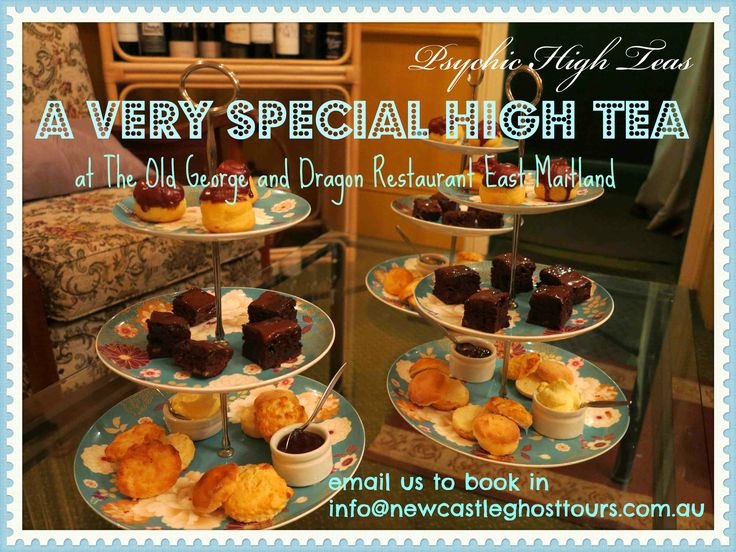 Psychic High Teas can be booked for your group any Saturday - $40 p/p with psychics available for your personal one on one reading info@newcastleghosttours.com.au