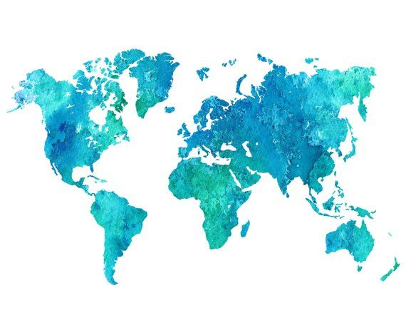 World Map Printable Watercolor Blue World Map Wall Art Blue World Map Print World Map Digital Download World Map Poster Blue Map Decor Water Color World Map World Map Art Map