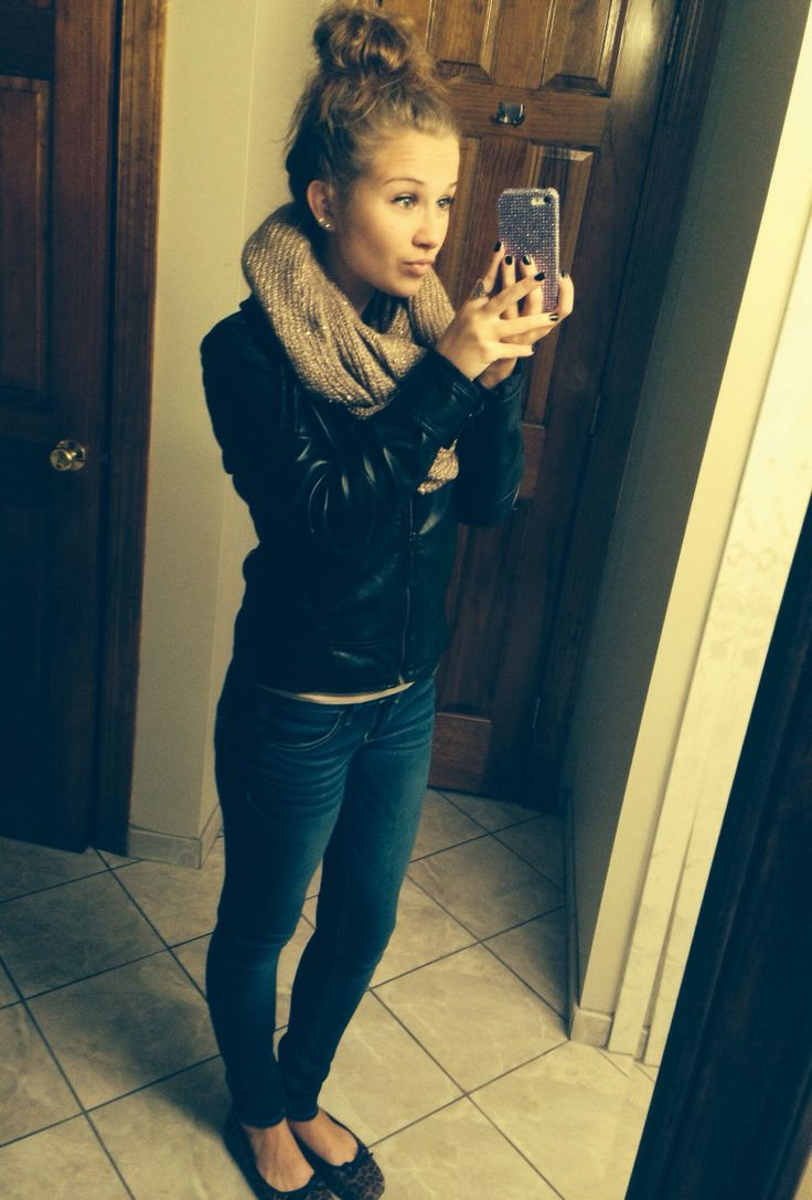 Leather Jacket Infinity Knit Scarf Hollister Jeans