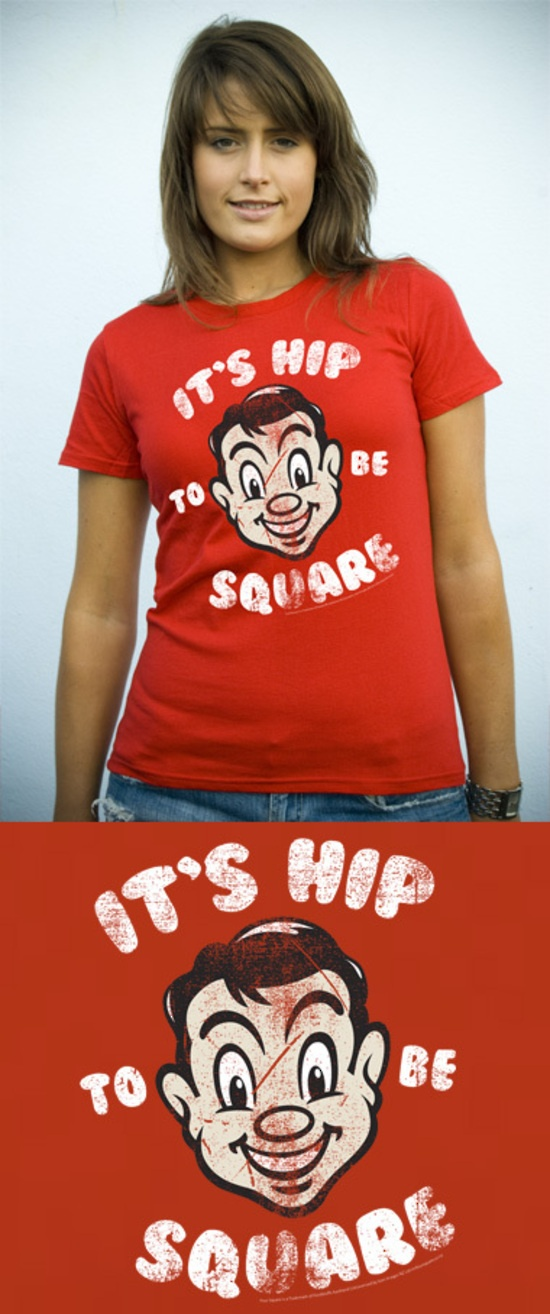red (t-)shirt on order from Mr Vintage - It's Hip to be Square, featuring Mr Four Square. It's a kiwi thing.