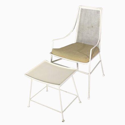 Vintage Metall Stuhl Mit Hocker, 1950er Jetzt Bestellen Unter: ...